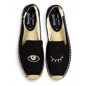 Soludos Black Winking Eye Canvas Espadrilles